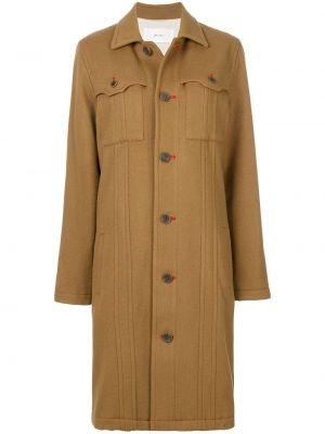 Коричневое шерстяное пальто с капюшоном Julien David