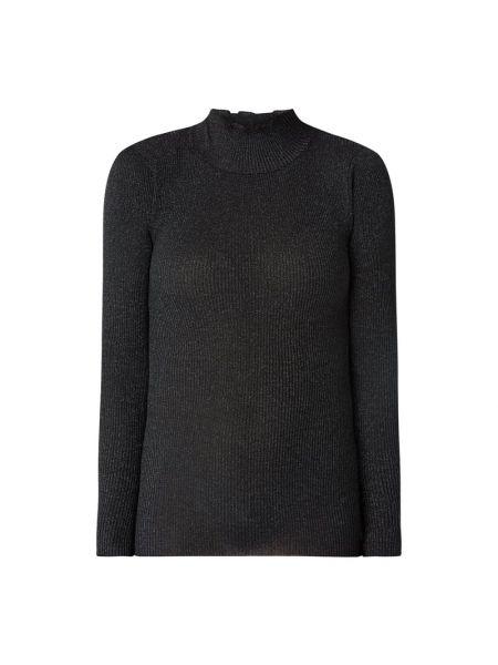 Prążkowana czarna bluzka bawełniana Rosemunde