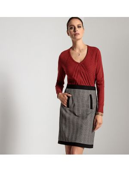 Пуловер с V-образным вырезом с узором Anne Weyburn