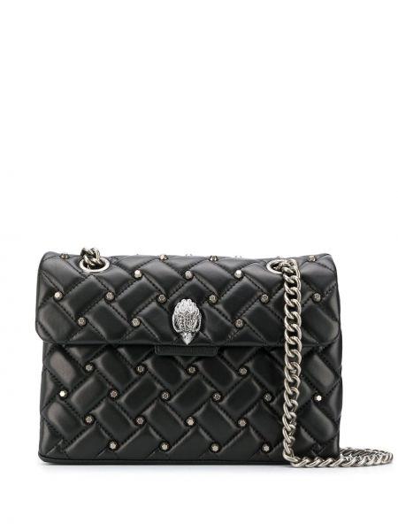 Кожаная черная сумка на цепочке с заклепками Kurt Geiger London