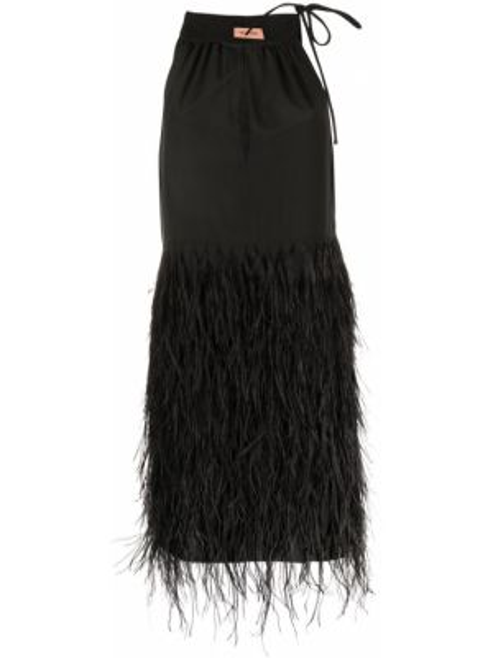 Прямое приталенное шелковое платье мини с перьями Yves Salomon