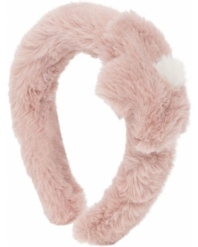 Różowy opaska na głowę sztuczne futro Il Gufo