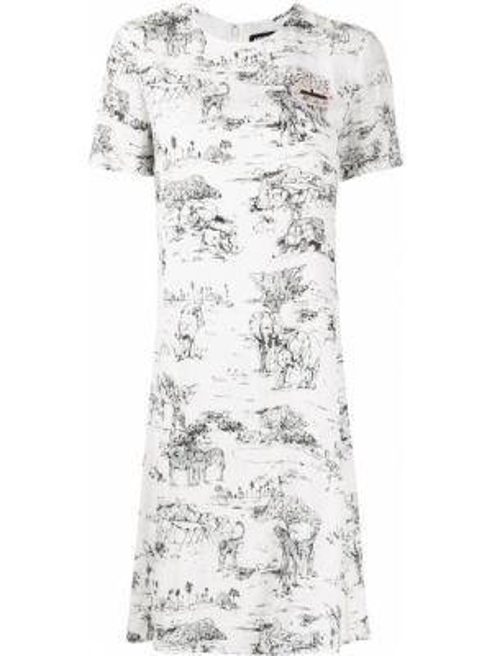 Прямое с рукавами белое платье мини Markus Lupfer