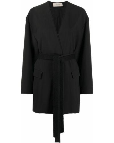Шерстяной черный удлиненный пиджак с поясом Maison Flaneur