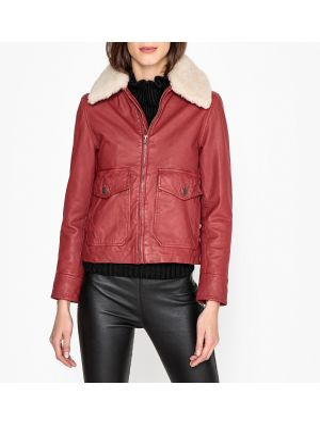 Кожаная куртка на пуговицах с карманами Leon & Harper