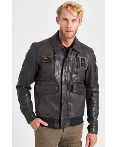 Кожаная куртка на молнии Aeronautica Militare