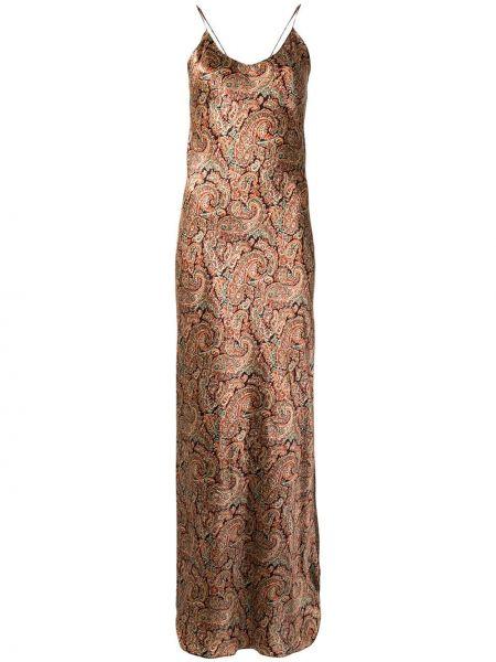 Тонкое шелковое платье на бретелях с вырезом Nili Lotan