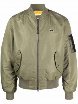 Зеленая длинная куртка Lacoste
