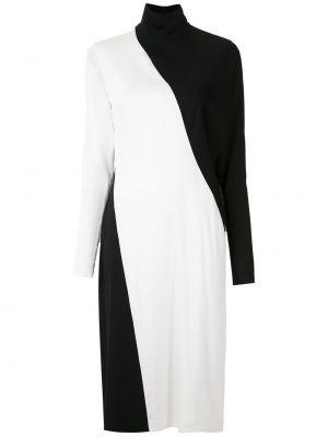 С рукавами черное прямое платье миди из вискозы Gloria Coelho