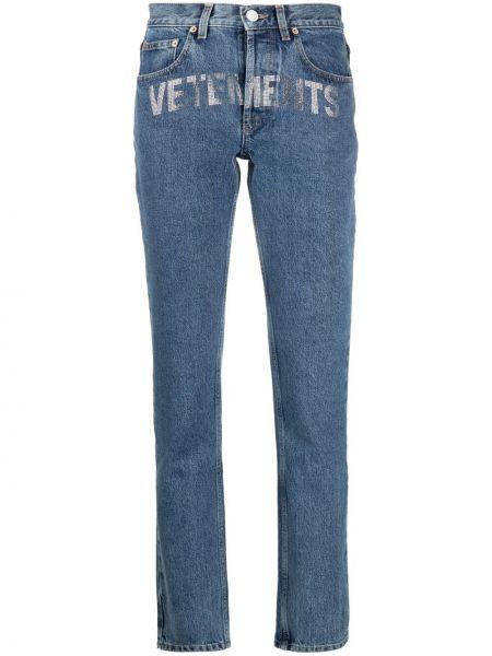 Хлопковые синие джинсы с карманами Vetements