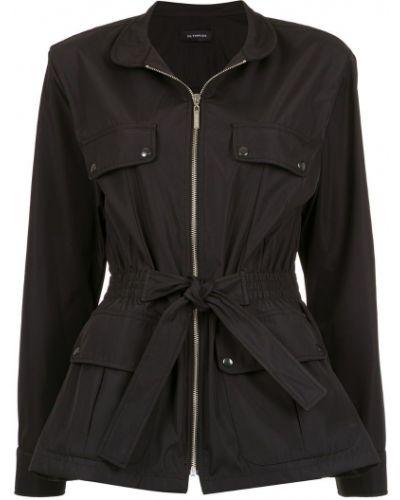 Черное длинное пальто с воротником с поясом Olympiah