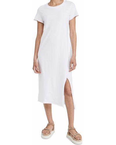 Трикотажное белое платье миди с короткими рукавами Frank & Eileen