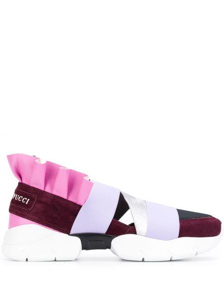 Skórzane sneakersy różowy karmazynowy Emilio Pucci