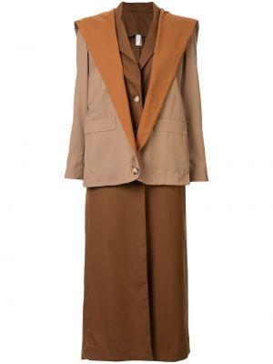 Коричневое шерстяное пальто на пуговицах с лацканами Marta Jakubowski