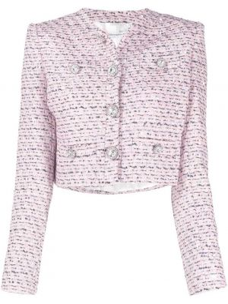 Розовый пиджак твидовый с карманами Alessandra Rich