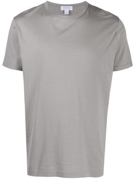 Хлопковая с рукавами серая прямая рубашка с короткими рукавами Sunspel