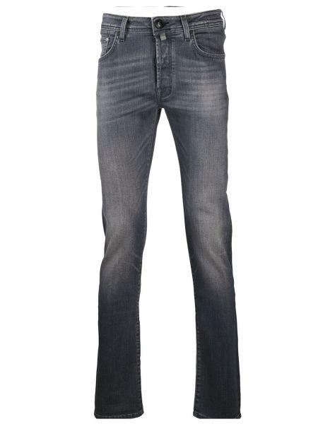 Хлопковые серые джинсы-скинни с поясом Jacob Cohen