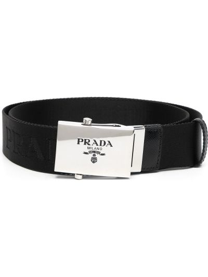 Czarny pasek z paskiem klamry Prada