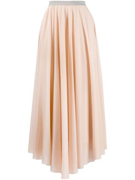 Розовая плиссированная юбка миди с поясом Fabiana Filippi