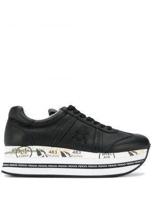 Черные кроссовки на платформе на шнуровке с заплатками Premiata
