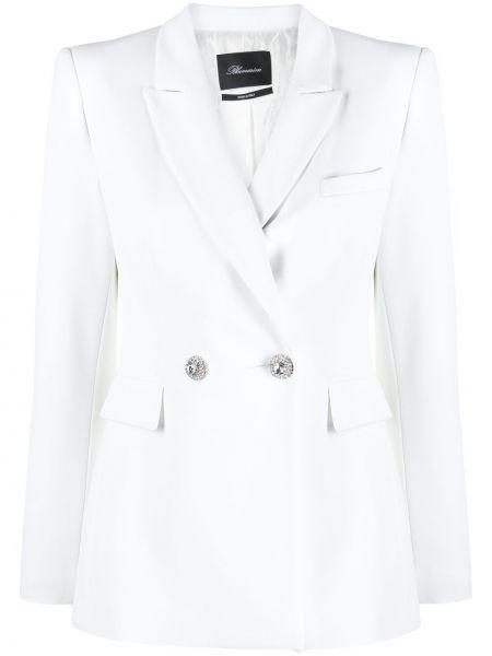 Белый удлиненный пиджак двубортный с карманами Blumarine