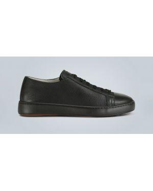 Черные кожаные туфли Santoni
