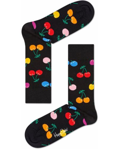 Колготки с узором черные Happy Socks
