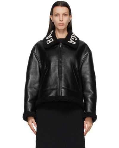 Czarna długa kurtka wełniana z długimi rękawami Balenciaga
