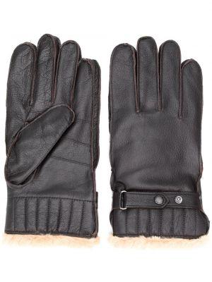 Brązowy skórzany rękawiczki prążkowany sztuczne futro Barbour