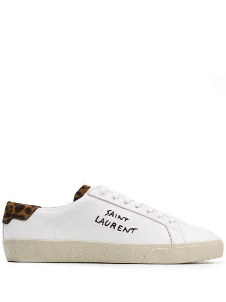 Кожаные кроссовки леопардовые с логотипом Saint Laurent
