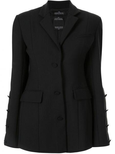 Шерстяной черный пиджак с карманами Rokh