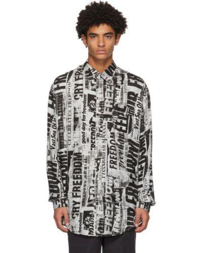 Черная рубашка с воротником оверсайз с карманами Schnaydermans