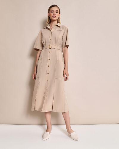 Приталенное платье миди на пуговицах сафари с карманами 12storeez