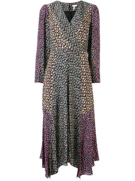 Brązowa sukienka długa kopertowa z długimi rękawami Rebecca Taylor