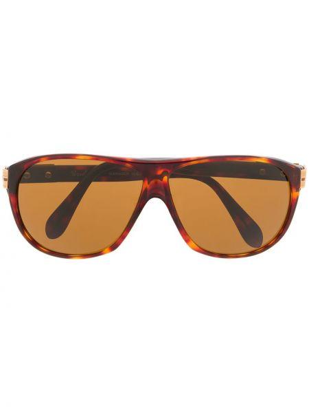 Массивные прямые коричневые солнцезащитные очки круглые Persol Pre-owned
