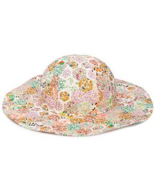 Beżowy kapelusz bawełniany z printem Bonpoint