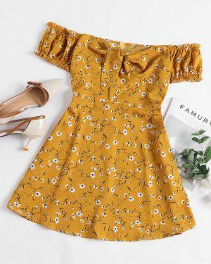 Платье мини с цветочным принтом через плечо Zaful