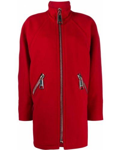 Красное шерстяное длинное пальто оверсайз Moschino