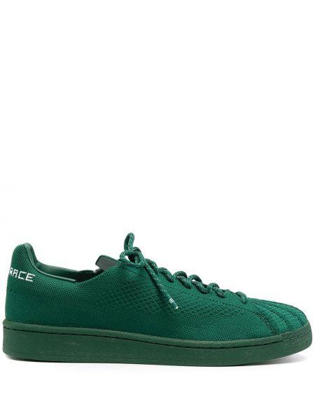 Zielone sneakersy sznurowane płaska podeszwa Adidas By Pharrell Williams