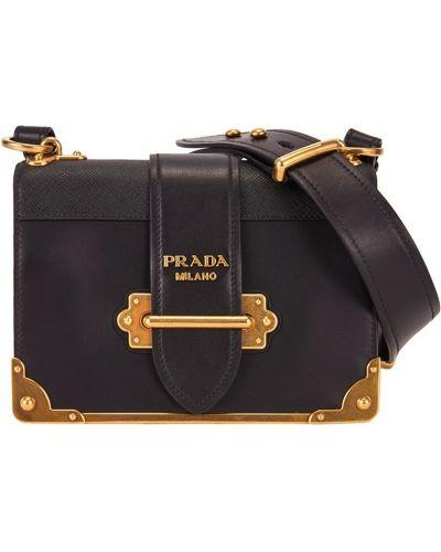 Черная кожаный сумка Prada