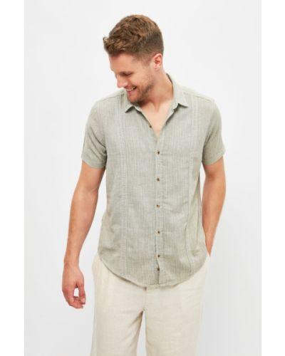 Koszula slim bawełniana krótki rękaw khaki Trendyol