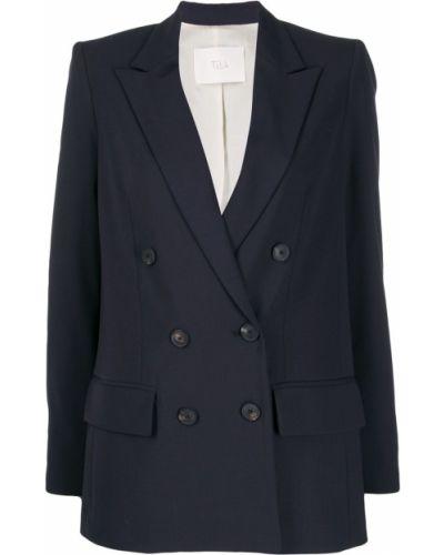Синий классический пиджак с карманами Tela