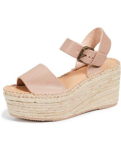 Szare sandały na platformie skorzane Soludos