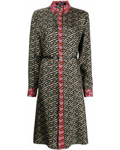 Шелковое платье макси - зеленое Versace