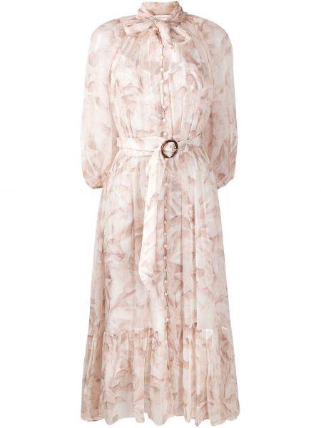 Платье миди розовое с цветочным принтом Zimmermann