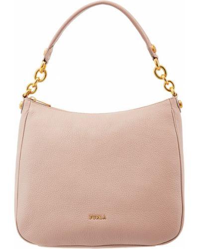Кожаная сумка на цепочке бежевый Furla