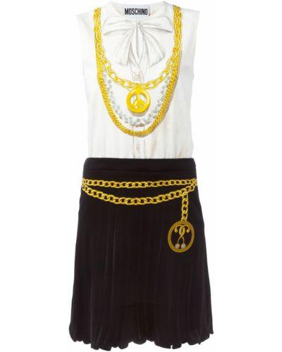 Платье с принтом с рукавами Moschino