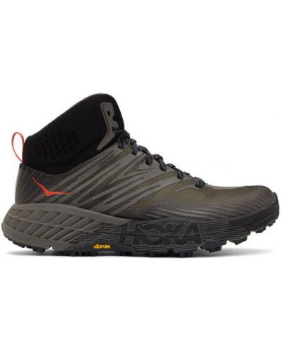 Черные высокие кроссовки на каблуке на шнурках Hoka One One