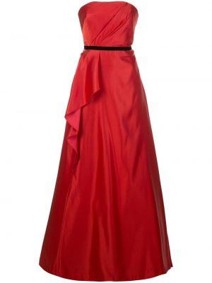 Вечернее платье с драпировкой - красное Marchesa Notte