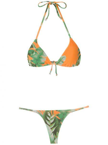 Włókienniczy pomarańczowy bikini prążkowany na paskach Amir Slama